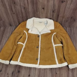 LL Bean Faux Suede Sherpa Lined Jacket